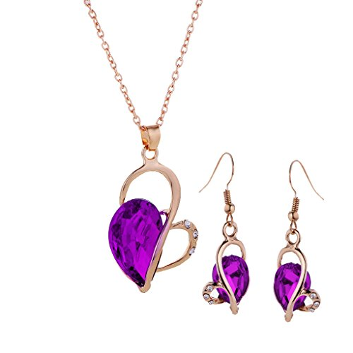 Baoblae Fashion Women Bridal Wedding Party Prom Crystal Love Heart Necklace Earrings Jewelry Set - purple  available at amazon for Rs.375