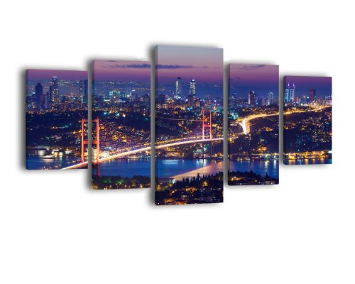 Leinwandbild Istanbul bei Nacht LW309 Wandbild, Bild auf Leinwand, 5 Teile, 210 x 100 cm, Kunstdruck Canvas, XXL Bilder, Keilrahmenbild, fertig aufgespannt, Bild, Holzrahmen, Nacht, Skyline, Türkei