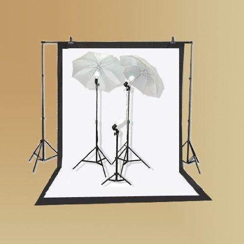 ePhoto K103Studio Lighting Kit mit Tragetasche mit 6x 9Fuß schwarz und weiß Musselin...