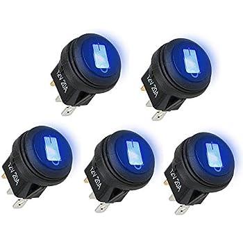 4x LED Illuminated Round Rocker Switch On//Off 12v 16A Car Van Dash Light