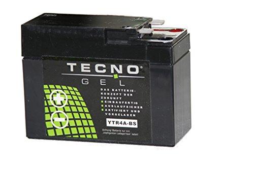 TECNO-GEL Motorrad-Batterie YTR4A-BS für Honda, 12V Gel-Batterie 2,3 Ah, 112x48x88 mm