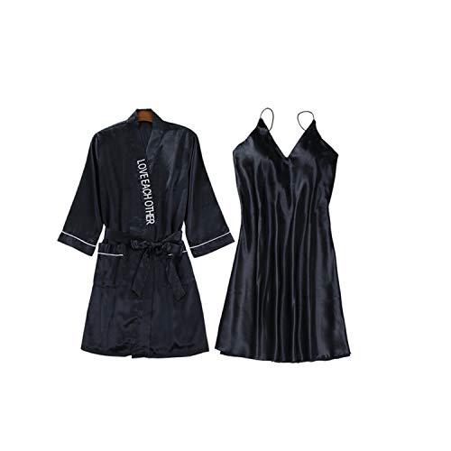ZZZSY Sexy Frauen Robe & Gown Sets Faux Silk 2 Stück Nachtwäsche Womens Elegant Sleep Set Femme Dessous Für Hochzeitsnacht, Flitterwochen, Valentinstag Schlafzimmer Black M (Sexy Silk-roben)