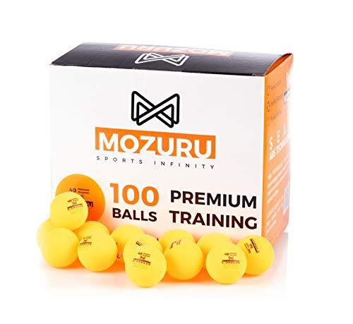 MOZURU Ping Pong bälle Premium Training 40 + ABS Kunststoff, Tischtennisbälle Pack 100 er, orange