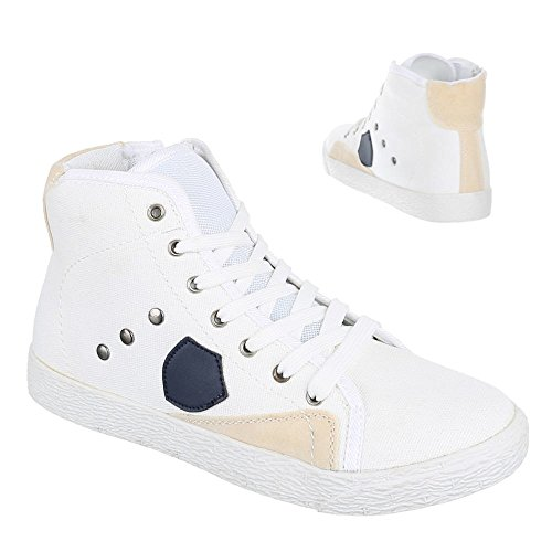 Ital-Design, 12024–1, loisirs chaussures lacets Sneakers Blanc - Blanc