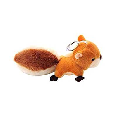 TOYMYTOY Mini Squirrel Plush Toy Stuffed Animal Keychain Doll Key Ring Bag Pendant with Sucker (Brown)