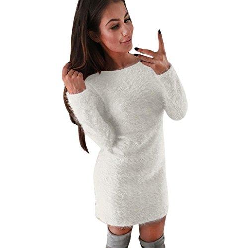Fulltime®Les femmes hiver manches longues chandail solide molleton base courte mini robe Blanc