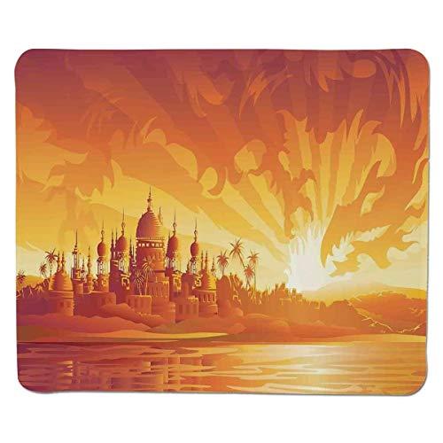 Yanteng Gaming Mouse Pad Asiatisches Dekor, goldene Stadt unter Drachenfeuer-Himmel-Palast-mythische magische legendäre Stadtlandschaft, orange gelbes genähter Rand