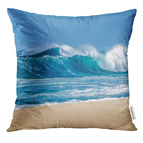 Throw Pillow Cover Blue Surf Big Breaking Ocean Wave on Sandy Beach The North Shore of Oahu Hawaii Sea Decorative Pillow Case Home Decor Square 18x18 Inches Pillowcase