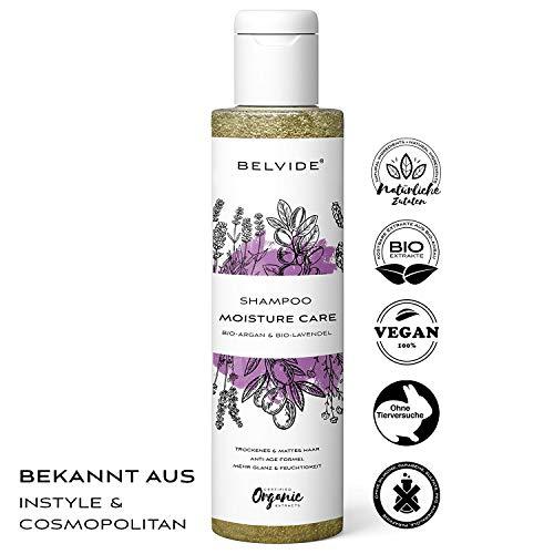 BELVIDE® Natur Shampoo mit Bio Arganöl und Bio Lavendel · ohne Silikon, Sulfate und Parabene · natürlicher Glanz und Geschmeidigkeit · tierversuchsfrei und vegan · 200 ml