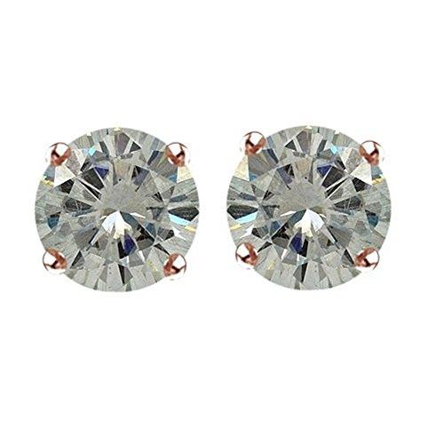 Lilu gioielli Moissanite, taglio brillante rotondo solitario orecchini con Spingere in argento Sterling (Taglio Rotondo Moissanite Solitaire)