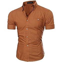 Hibote Business Chemise Homme Chemises Manches Longues Slim Fit Décontracté Top Doux Confortable Chemise Couleur Unie Hauts