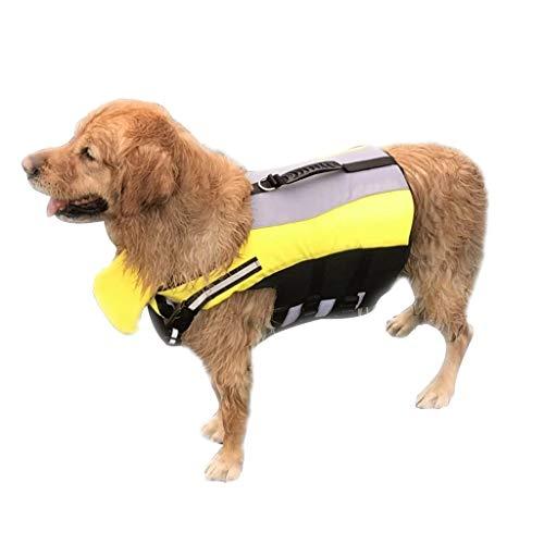 JKRTR Haustier Katze Hund Kleidung 2019,Große Schwimmweste für Hunde mit verstellbarem Soft(Gelb,S)