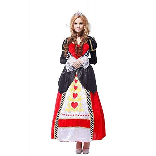 CHEN Halloween Dekoration Cosplay Maskerade Party Kostüm Erwachsene Königin Dress Up Anzug Herz Königin Kostüm Schneewittchen Kostüm, Eine Größe (165~175 - Königin Der Herzen Kostüm Muster