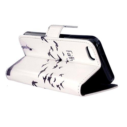 HB-Int 3 en 1 PU Cuir Housse Etui pour Apple iPhone 7 (4.7 pouces) Originale Motif Coque Protecteur Stand Fonction Couverture Flip Wallet Cover Case Card Slots Book Style Coque Magnétique Anti Choc +  Faith