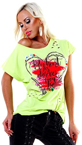 f4y Damen Stretch Cutouts Print T-Shirt Miss KISS - Neon-Mix - Size 38-40 - mit Strass und Pailletten - Kiss Print T-shirt