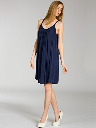 CASPAR SKL010 Donna Vestito Estivo di Cotone Blu scuro