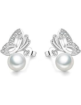 ELEGANCE PARISIENNE Modische Perlen-Ohrringe Schmetterling Silber 925 Für Frauen Damen Kinder Mädchen Glänzend...