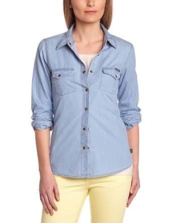 Le temps des cerises Damen Shirt   - Blau - Bleu (3060 Blue Chambray) - 38 (Herstellergröße: L)