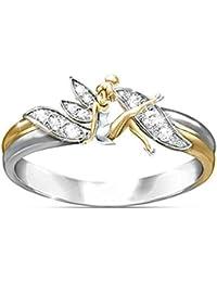 Anillo de boda con diseño de elfo de hada y flor de fantasía, bañado en