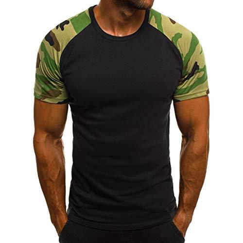 JURTEE Hombre Camiseta Moda Camuflaje Impreso Manga Corta Remera Patchwork T-Shirt Slim Fit Tops Verano Blusa Superior