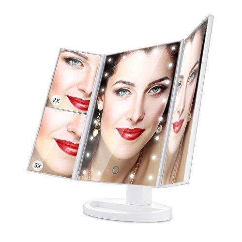 ISASSY Espejo de Maquillaje, Espejo de Maquillaje Espejo de Tres Pliegues Ajustable 180 ° con 21 luces LED Maquillaje Espejo de Maquillaje 1X / 2X / 3X, perfecto Regalo para Mujeres (Blanco)