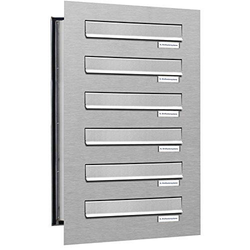 6er Durchwurfbriefkasten, 6 Fach Briefkasten DIN A4, wetterfeste Briefkastenanlage aus V2A Edelstahl