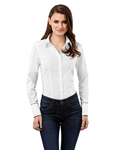 Vincenzo Boretti Damen Bluse tailliert 100% Baumwolle bügelfrei Langarm Hemdbluse elegant festlich Kent-Kragen auch für Business und unter Pullover weiß 40 -