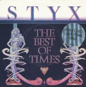 "Price comparison product image Styx Best Of Times 7"" A&M AMS8102 EX / EX 1980 picture sleeve,  laser etched disc"
