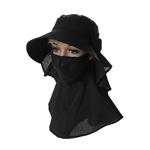 JU FU Sommer Hut, Sommer Hüte Frauen Sonnencreme Gesichtsmaske Einstellbare Klettverschluss Nackenschutz Faltbare Tragbare, 5 Farben Optional | (Farbe : SCHWARZ)