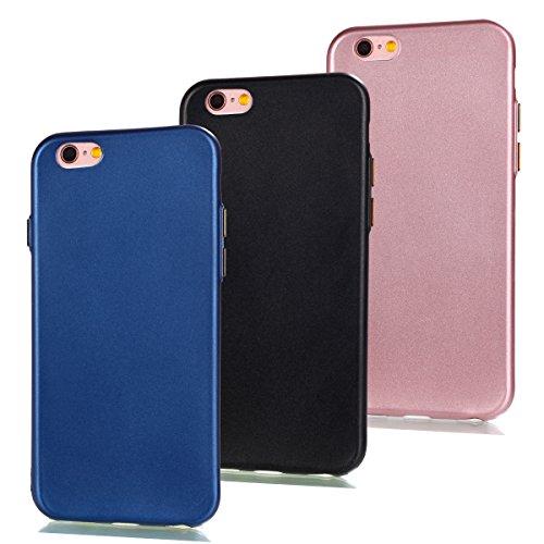 Uposao 3 in 1 Zubehör Set Schutzhüllen iPhone 6 Plus/6S Plus Hülle TPU Case Schutzhülle Silikon Crystal Case Durchsichtig Cover Schale Handy Tasche Skin(Dunkelblau + Schwarz + Rosa) -