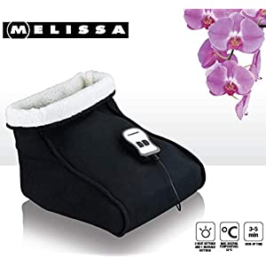 Melissa 16770038 Elektrischer Fußwärmer mit Massage-Funktion Heizschuh Fußsack Webpelz