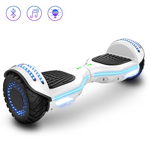2WD 6.5 '' Hovereboard Scooter eléctrico Las Ruedas LED Luces Self Balance Scooter con Bluetooth, Scooter eléctrico 6.5