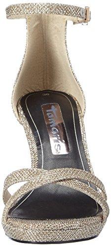 Tamaris - 28303, Scarpe col tacco con cinturino a T Donna Argento (Argento (Platinum Glam 970))