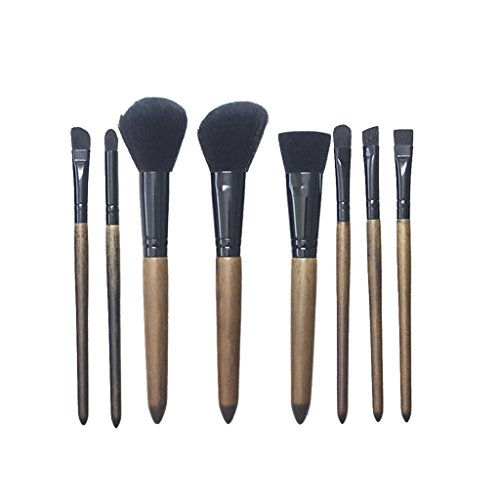 MagiDeal 8pcs Kit Pinceau de Maquillage Brosse Cosmétique Brush Make-up à Manche en Plastique pour Poudre Fond de Teint Fluide Blush Contour aux Yeux Peinture Visage. - Noir