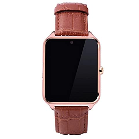Joyeer Smart Phone Watch support SIM TF Card Bluetooth Dial Call Call Message Rappel Wristband Music Player Podomètre Rappel sédentaire Sleep Monitor Caméra à distance Smartband , gold , leather