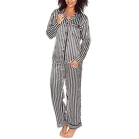 Pour Femmes Satin Silky Chemise Pyjamas Vêtement De Loisirs Vêtements De Nuit Pyjama Présent De Mariage Cadeau Noël Grandes Tailles - Rayure Noir, L 44-46