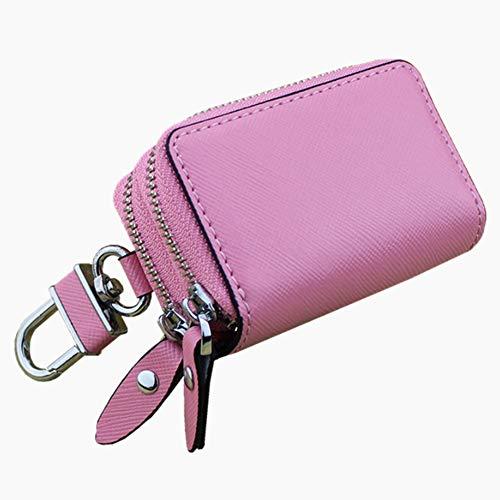 Frauen Brieftasche Cross-genäht Leder Schlüsseletui Double-Layer-Reißverschluss Autoschlüssel Fall (Color : Light pink, Size : S)