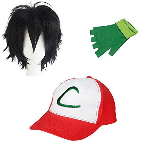 thematys Pokemon Trainer Ash Ketchum Cap + Handschuhe + Perücke - Kostüm-Set für Erwachsene & Kinder - Perfekt für Fasching, Karneval & Cosplay - Damen Herren