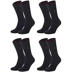 Tommy Hilfiger hombres clásico 2P de pantorrilla calcetines Negro 58776-black-200 43