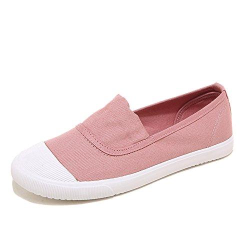 Minetom Femme Homme Été Automne Chaussures de Toile Mokassin Plat Loafers Shoes Unisexe Slip On Baskets Rose