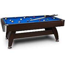 oneConcept Leeds • mesa de billar • mesa de pool • madera DM • chapa de nogal • recubrimiento azul • 16 bolas de plástico • 2 tacos • triángulo • cepillo • 2 x tizas • altura ajustable • café