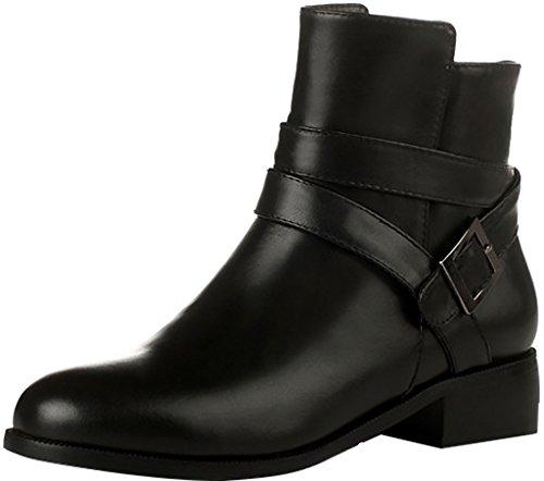 ELEHOT Donna Elefamiliar tacco western 3.5CM Leather Stivali, nero,