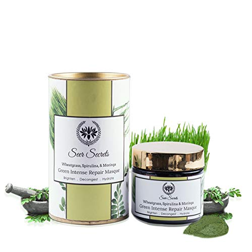 Seer Secrets Face Mask : Wheatgrass, Spirulina & Moringa Green Intense Repair Masque │Brighten Decongest Hydrate│40 gms