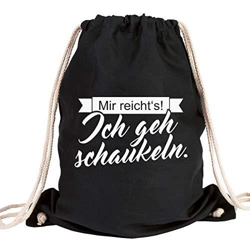 """JUNIWORDS Turnbeutel - Wähle ein Motiv & Farbe - """"Mir reicht's! Ich geh schaukeln"""" (Beutel: Schwarz, Text: Weiß)"""