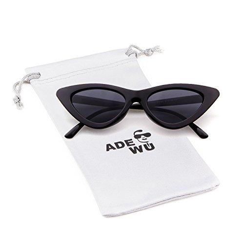 ADEWU Cat Eye Sonnebrille Mode Vintage Katzenaugen Clout Goggles UV-Schutz für Damen Herren (Schwarz (Rahmen) + Schwarz (Linse) #1)