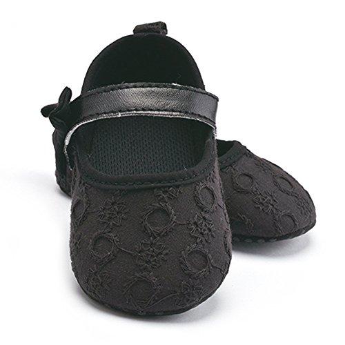 La Cabina Chaussures Bébé Fille garçon - Chaussures Souples Confortable -Chaussure Bébé Fille Premier Pas- Chaussures Antiglisse (3-12 mois ) (9- 12 mois, rouge) noir