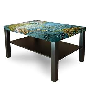 Grande table d'appoint avec plateau de table-motif :  globe terrestre