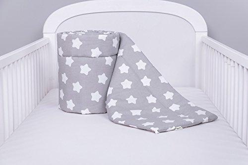 Preisvergleich Produktbild Amilian® Bettumrandung Nest Kopfschutz Nestchen 420x30cm, 360x30cm, 210x30cm, 180x30 cm Lebkuchen Weiß auf Grau (A1)/GRAU Bettnestchen Baby Kantenschutz Bettausstattung (180x30)