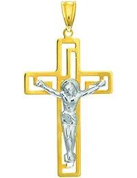 14ct de oro blanco y amarillo pulido con textura soporte de Cruz con figura decorativa colgante