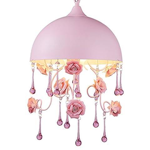 Kronleuchter Deckenleuchte 3-Flamme Rose Blume Kristall Anhänger Kinderzimmer kleine Halbschatten Hängelampe E14 Halbkreis Lampenschirm rosa
